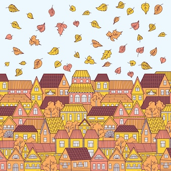 Ilustração com cidade de outono