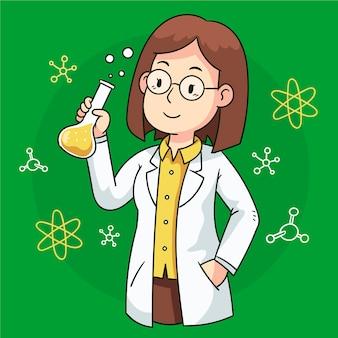 Ilustração com cientista feminina
