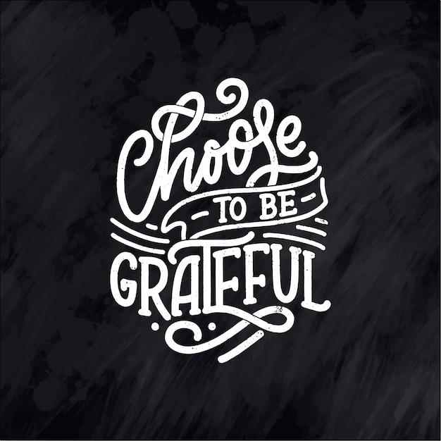 Ilustração com citação de letras para o dia de ação de graças.