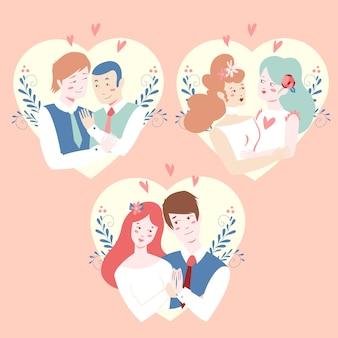 Ilustração com coleção de casal de noivos