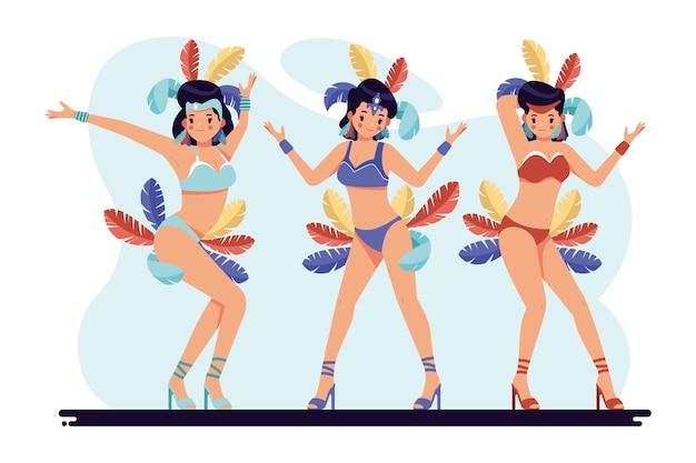 Ilustração com coleção de dançarina de carnaval brasileiro