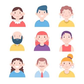 Ilustração com conceito de avatares de pessoas