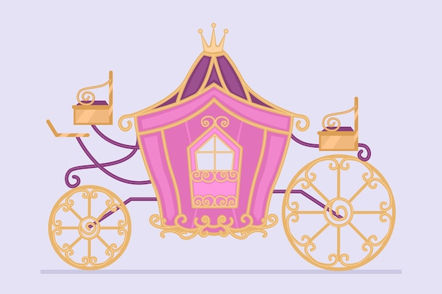 Ilustração com conceito de carruagem de conto de fadas