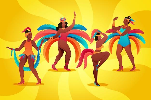 Ilustração com conceito de coleção de dançarinos de carnaval