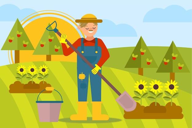 Ilustração com conceito de fazenda orgânica