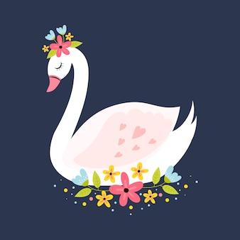 Ilustração com conceito de princesa de cisne
