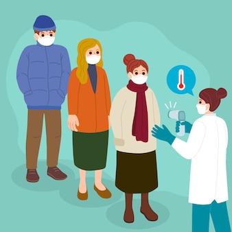 Ilustração com conceito de verificação de temperatura corporal