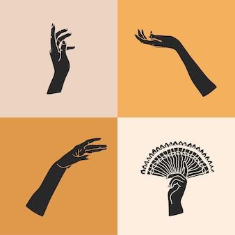Ilustração com conjunto de elementos de logotipo, silhuetas de mãos humanas, linha