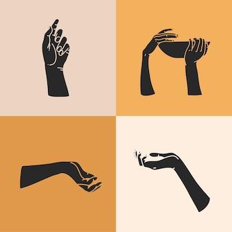 Ilustração com conjunto de elementos de logotipo, silhuetas de mãos humanas, mágica