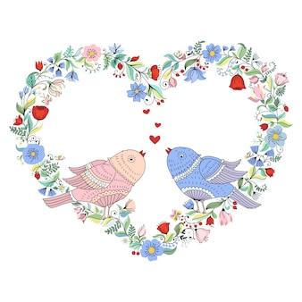 Ilustração com coração de flor de casamento e pássaros.
