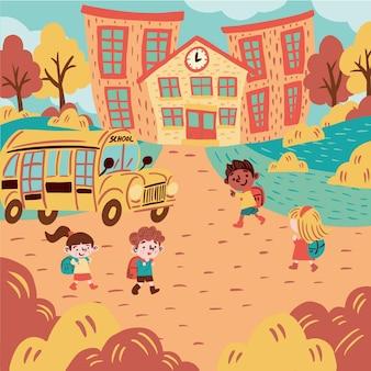 Ilustração com crianças de volta à escola