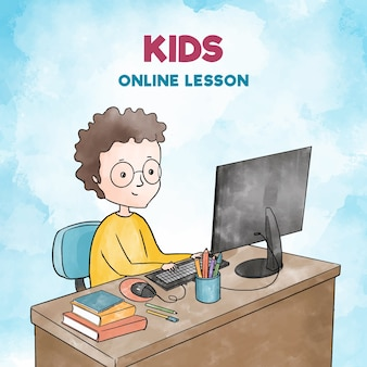 Ilustração com crianças tendo aulas on-line