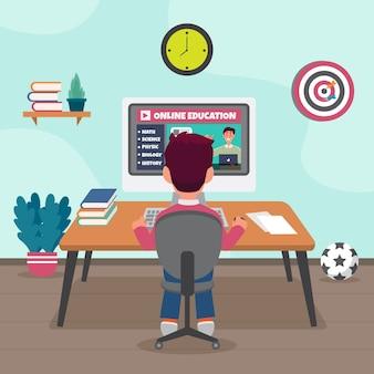 Ilustração com crianças tendo aulas tema on-line