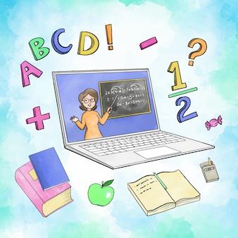 Ilustração com crianças tendo lições conceito on-line