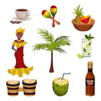 Ilustração com cultura cubana. imagens de itens tradicionais.