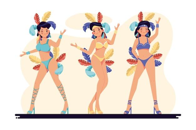 Ilustração com dançarinos de carnaval brasileiro
