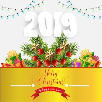 Ilustração com decorações de natal e ano novo. presente de natal