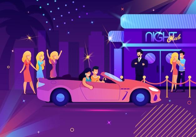 Ilustração com desenhos animados casal dirigindo o carro