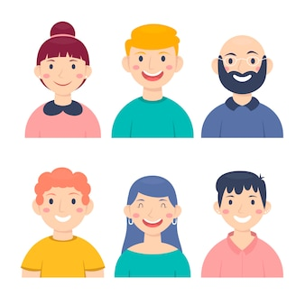 Ilustração com design de avatares de pessoas