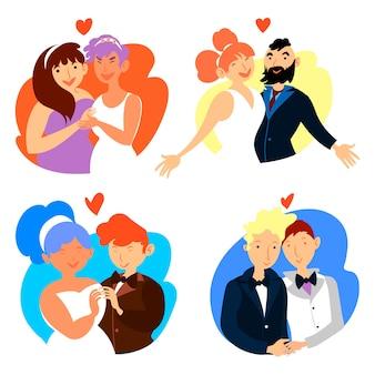 Ilustração com design de coleção de casal de noivos