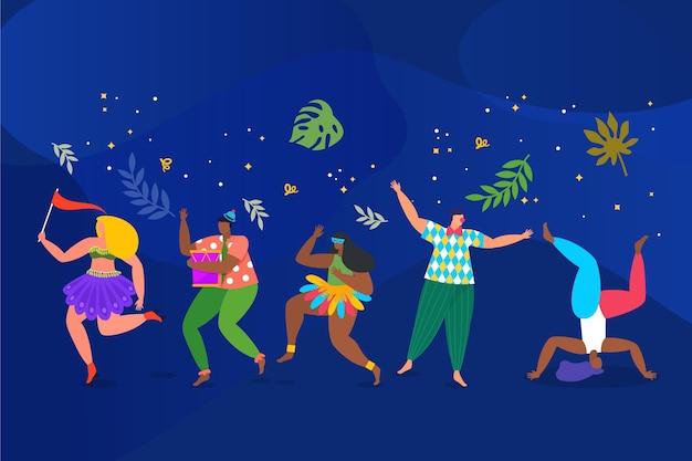 Ilustração com design de coleção de dançarinos de carnaval