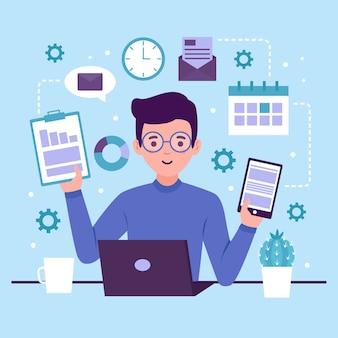 Ilustração com design multitarefa