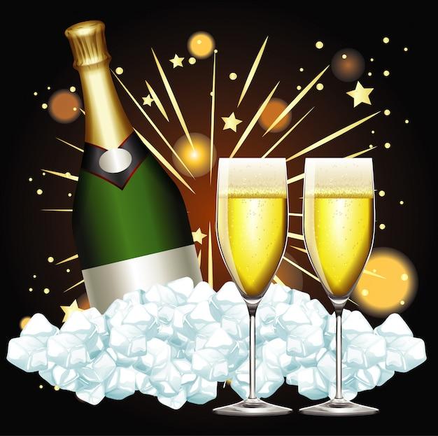Ilustração com duas taças de champanhe e fogos de artifício