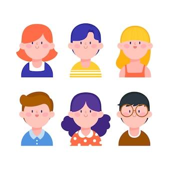 Ilustração com estilo de avatares de pessoas