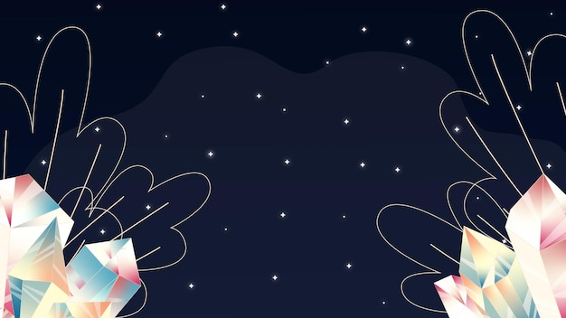 Ilustração com estrelas e cristais imagens cósmicas, céu noturno, luar, cristal