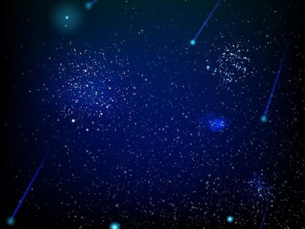 Ilustração com estrelas e galáxia.