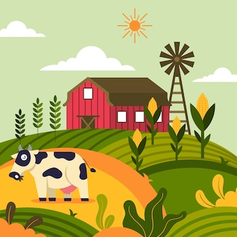 Ilustração com fazenda orgânica