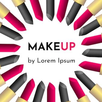 Ilustração com ferramentas cosméticas profissionais