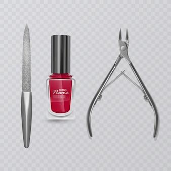 Ilustração com ferramentas de manicure, esmalte vermelho, lixa de unha e cortadores realistas para removedor de cutículas