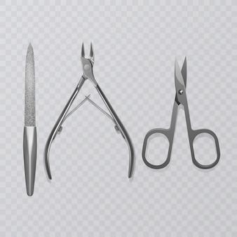 Ilustração com ferramentas de manicure, lixa de unha, tesouras realistas e cortadores de remoção de cutículas