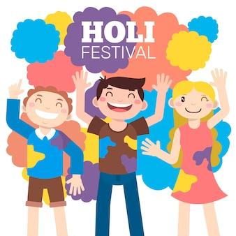 Ilustração com festival de holi de celebração de pessoas