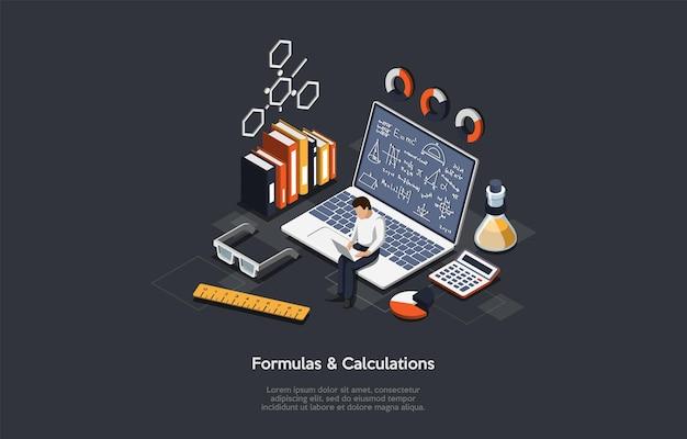Ilustração com fórmulas e escritos de cálculos no escuro.