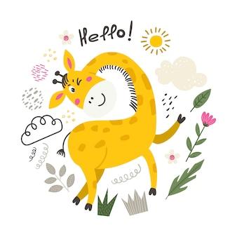 Ilustração com girafa bonitinha.