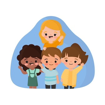 Ilustração com grupo de crianças acenando a mão