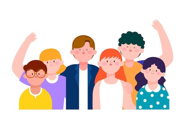 Ilustração com grupo de pessoas
