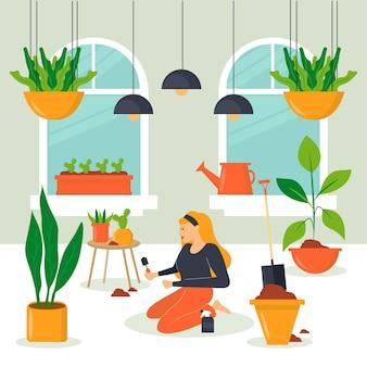 Ilustração com jardinagem em casa