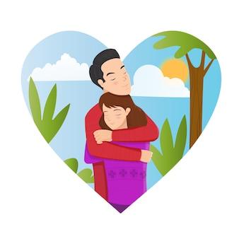 Ilustração com jovem casal apaixonado. namorado e namorada sorriem e se abraçam