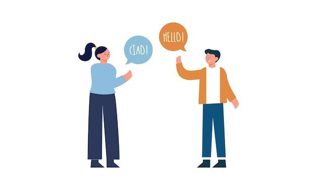 Ilustração com jovens conversando