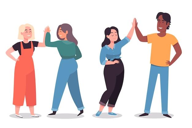 Ilustração com jovens dando mais cinco
