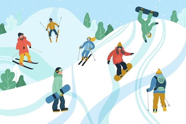 Ilustração com jovens no resort de montanha.