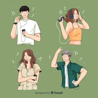 Ilustração com jovens personagens ouvindo música