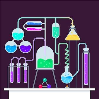 Ilustração com laboratório de ciências