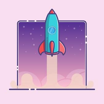 Ilustração com lançamento de foguete em esboço