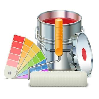 Ilustração com lata de tinta, pincel e guia de cores