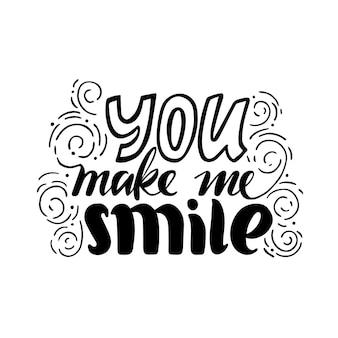 Ilustração com letras. você me faz sorrir