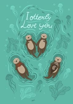 Ilustração com lontra do mar e caranguejo e a inscrição eu te amo com lontra.
